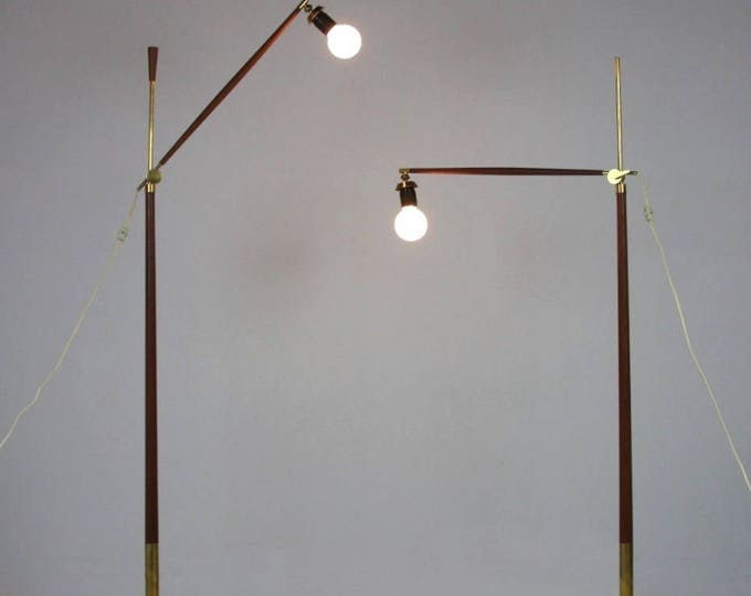 Pair of Danish Mid Century Modern POVL DINESEN TEAK & Brass Adjustable Floor Lamps