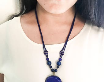 Lapis necklace / lapis jewellery / statement necklace / AAA quality lapis