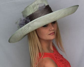 mint green large formal hat, kentucky derby, ladies day, wedding, ascot,