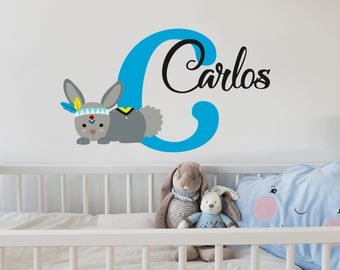 Wall Decal Personalized Initial Name Vinyl Sticker Rabbit Colorful Decals Name Girls and Boys Room Woodland Nursery Rustic Animal NS2039