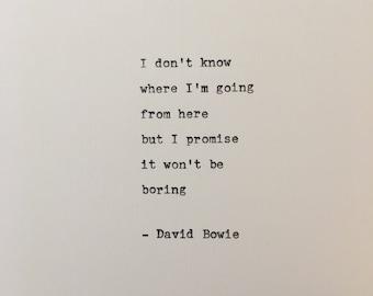 David Bowie quote hand typed on antique typewriter scrapbooking