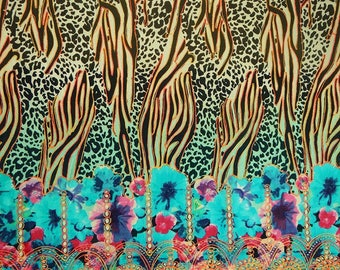 """Leopard Printed, Multicolor Designer Dressmaking Cotton Fabric, Sewing Crafts, 39"""" Inch Floral Fabric By The Yard ZBC6477"""