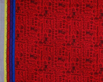 """Indian Decor Fabric, Animation Print, Red Fabric, Sewing Crafts, Clothing Fabric, 42"""" Inch Cotton Fabric By The Yard ZBC6960B"""