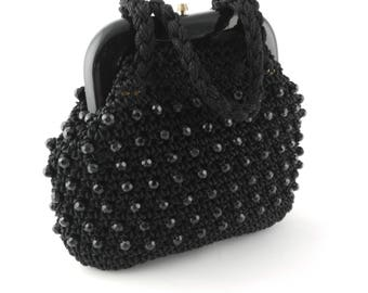 black beaded handbag gothic bride handbag halloween handbag - Halloween Handbag