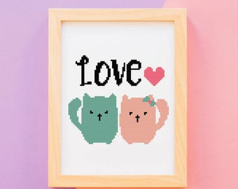 Wedding cross stitch pattern, Love pattern, DIY, instant download #42