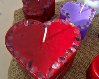 Love is the Answer ~ Crystal & Gemstone Large Heart Candle in Red with inlaid Amethyst and Citrine that illuminate when lit!