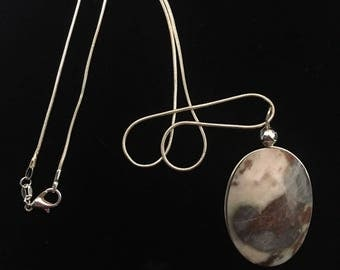 Ying-Yang Double Sided Necklace: Banded Montana Agate paired with Dendritic Agate
