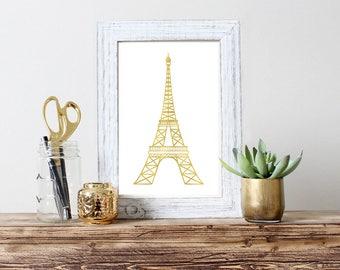 Eiffel Tower Wall Art Print Gold Eiffel Tower Printable Poster Eiffel Tower Print Eiffel Tower gold art decor Gold decor posters Gold prints