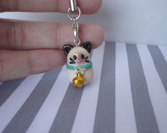 Cute Siamese Kitty with Bell Polymer Clay Charm Accessory