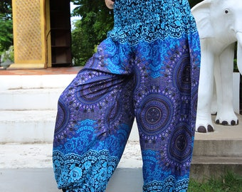Harem Pants Yoga pants Hippie Pants Bohemian Pants Flower Blue Plus Size
