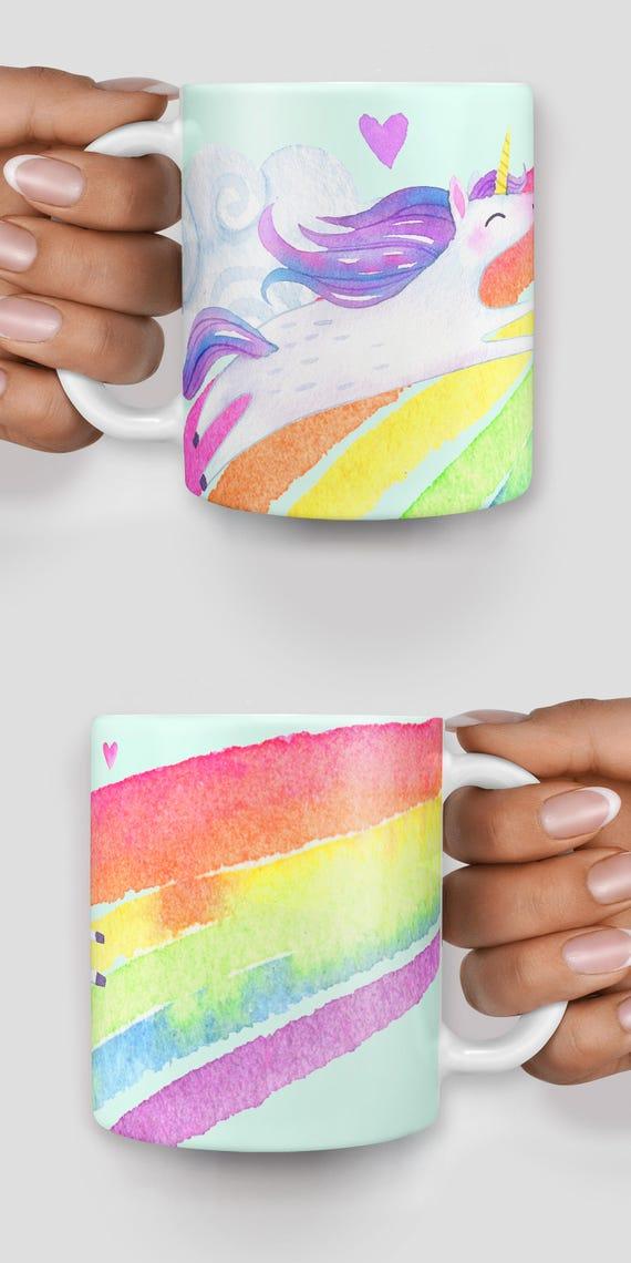 Cute unicorn watercolor rainbow mug - Christmas mug - Funny mug - Rude mug - Mug cup 4P108
