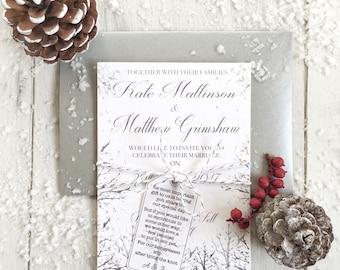 Winter Wedding Invitations, Christmas Wedding Invitations, Snow Wedding Invitation, Winter Wedding Rustic Invitation, White Winter Wedding