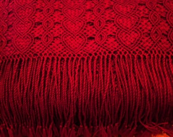 Cherry red, Baby Alpaca Shawl (hand-made)