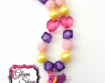 My Little Pony Necklace - Chunky Bubblegum Bead Necklace Party Favor Birthday Gift Chunky Beaded Necklace MLP Princess Pony Chunky Necklace