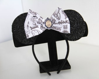 NEW! Handmade Mickey Ears with Haunted Mansion Bow - Theme Park Ears