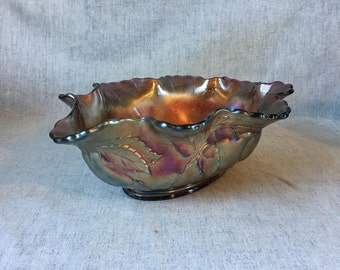 Vintage Dugan Carnival Glass Peach and Pear Oval Centerpiece Bowl