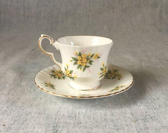 Vintage Royal Windsor Bone China Yellow Floral Tea Cup and Saucer with Gold Trim