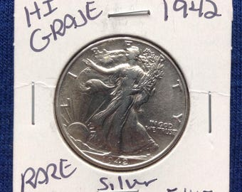 1942 P Walking Liberty Silver Half Dollar, Old US Coins, Coin Collecting and Investing, 90 Percent Silver Dollars
