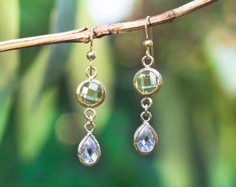 Gold Green Teardrop Earrings, Cubic Zirconia earrings, Gold Filled Chandeliers, Pale Green Earrings, Green Chandeliers, Zircon Chandeliers