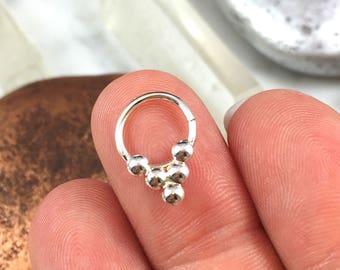 Septum Ring, Septum Hoop, Nose Ring, Sterling Silver Nose Ring, Septum Piercing, Circle Septum Ring, Ornate Septum Ring