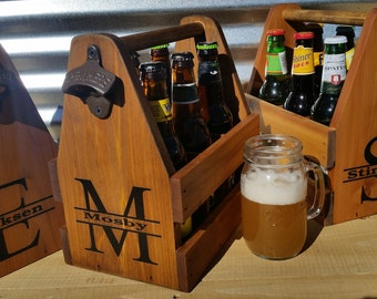 Set of four Personalized Wood Beer Carriers, Caddy, Tote, 6 pack holder,