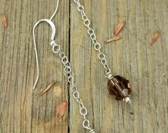 Vintage Sterling Silver Amber Colored Drop Earrings