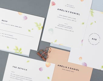 Floral Wedding Invitation with matching RSVP, Watercolour Wedding Invitation, Pastel Wedding Invitation, Summer Wedding Invitation - SAMPLE
