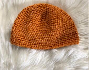 Yellow-Orange Crocheted Beanie