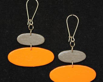 Mini Mod Mobiles Orange/Gray Ovals Handpainted Handmade Earrings