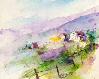 Original watercolor landscape painting of houses and hills in France - countryside in France with cabins in the meadows -memories france