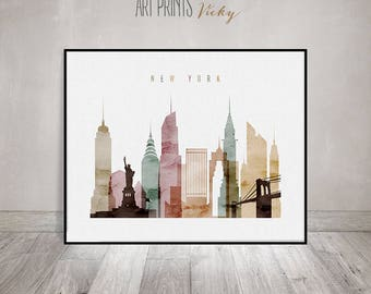 New York City Watercolor Print Skyline Poster | ArtPrintsVicky.com