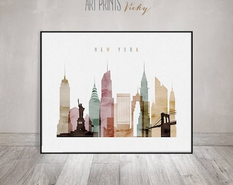 New York wall art, New York city watercolor poster, New York skyline art, cities poster, typography art, digital watercolor ArtPrintsVicky.