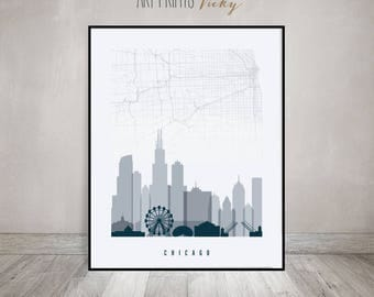 Chicago City Map Print Skyline Poster | ArtPrintsVicky.com