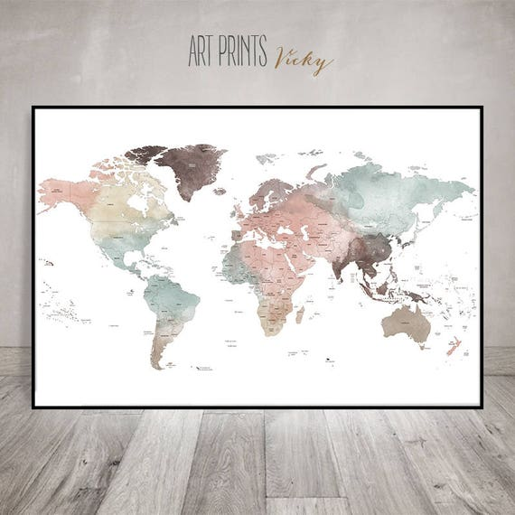 Large world map wall art print detailed map poster pastel like this item gumiabroncs Images