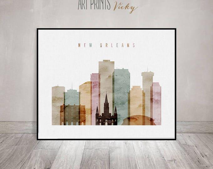 New Orleans art print, New Orleans Poster, Wall art, New Orleans skyline watercolor, Louisiana, Travel Home Decor, Gift, ArtPrintsVicky