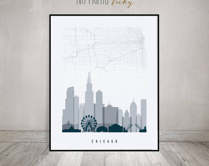 Chicago map, Chicago skyline art print, Chicago poster in grey blue colours by ArtPrintsVicky