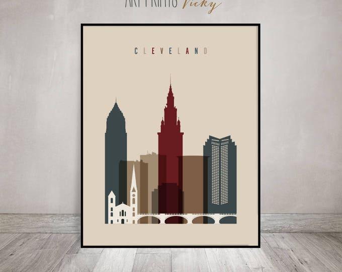 Cleveland skyline, Cleveland wall art, print, Poster, Ohio, City print, Travel, Wall decor, office decor, Gift, Home Decor, ArtPrintsVicky