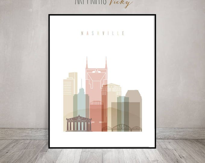 Nashville art print poster, Nashville Wall art, Nashville skyline, Housewarming gift, Travel gift, Tennessee, Home Decor,ArtPrintsVicky