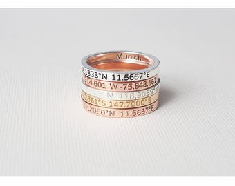 Coordinates Ring / Custom Roman Numeral Ring / Dainty Name Ring / Initials Ring / Valentine's gift - CR05