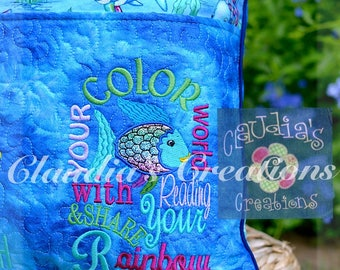 Color Your World Embroidery Saying