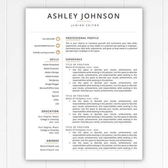 resume template modern resume resumes free resume template cover letter references included mac pc compatible - Templates For Resumes And Cover Letters