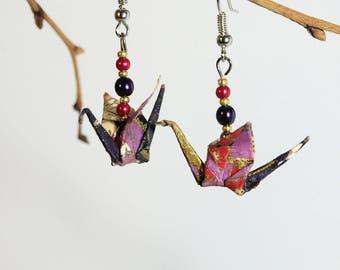 """Winged purple sakura cranes"" origami earrings"