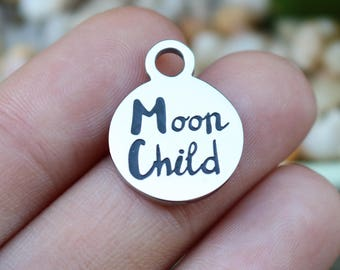 set of 4, moon child charms, word charms, stainless steel, disc charms, 15mm x 15mm x 1mm, affirmation charms,