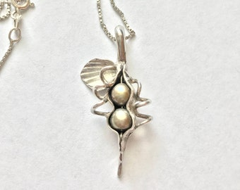 Sterling Silver 2 Peas In A Pod Gray Pearl Pendant Necklace Lucinda K