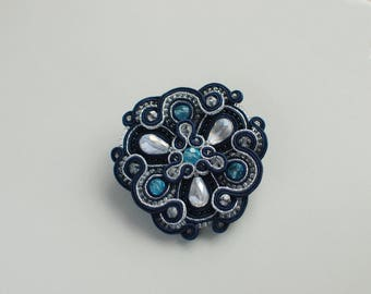 Soutache brooch, Blue and silver brooch, Embroidered brooch, Beaded brooch, Gift for her, Soutache jewelry, Crystal brooch, FREE SHIPPING