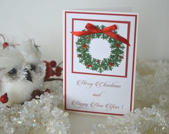 Happy New Year card, Classic Merry Christmas card, Christmas wreath card, Card with Christmas wreath, Holiday card, Seasonal cards