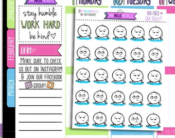 UGH! Really? BD-063 | 25 Hand Drawn Planner Stickers