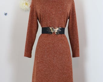 1960s 70s Dress - Rust Brown A-line Shift Dress - Cowl Neck - Midi Length - Long Sleeve - Warm Knit - Winter Fall - Size Medium/Large