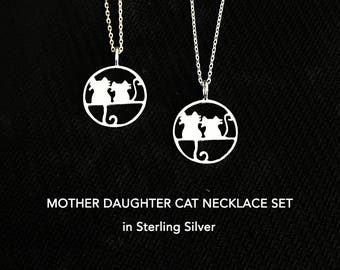 Mother Daughter Necklace Set, Mother Daughter Jewelry Set, Mother Daughter Gift Set, Dainty Necklace, Cat Lover, Gift For Daughter, For Mom