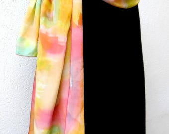 """Sold stole in crepe de Chine hand painted """"Summer morning"""""""